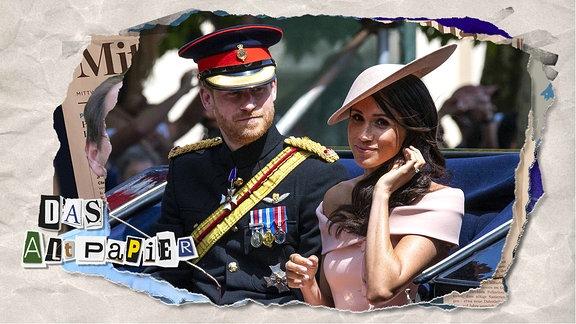 Teasergrafik Altpapier vom 17. Januar 2020: Prinz Harry and Meghan Markle in einer offenen Kutsche