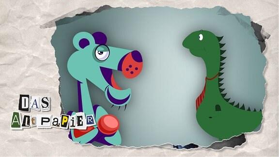 Teasergrafik Altpapier vom 21. Januar 2020: Ein Dino mit Krawatte und einen Panther mit verschränkten Armen blicken einander an.