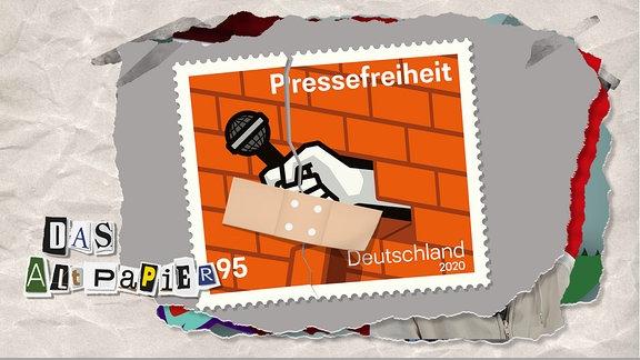 Teasergrafik Altpapier vom 23. Januar 2020: Durch die offizielle Sonderbriefmarke zur Pressefreiheit zieht sich ein Riss. Zusammengehalten wird die Marke nur noch von einem losen Pflaster.