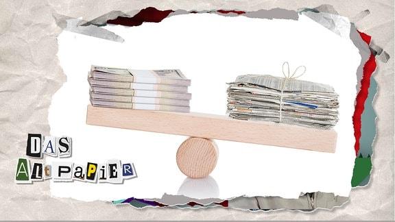 Teasergrafik Altpapier vom 24. Januar 2020: Ein Stapel Zeitungen und ein Stapel Geld auf einer Holzwippe. Sie halten sich gerade so die Waage.