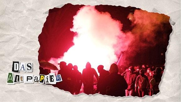 Teasergrafik Altpapier vom 27. Januar 2020: Sachsen, Leipzig: Teilnehmer einer linken Demonstration zünden Pyrotechnik.