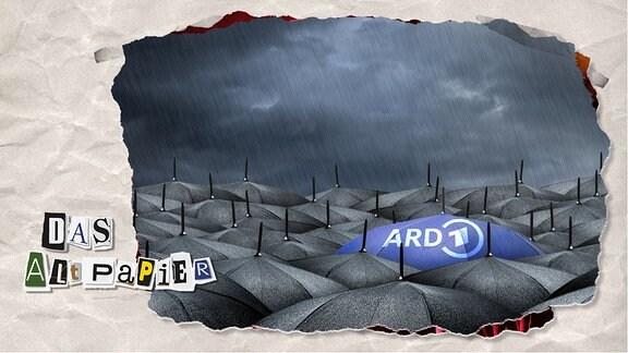 Teasergrafik Altpapier vom 28. Januar 2020: Ein Meer aus schwarzen Regenschirmen über einem wolkenverhangenen Himmel. Regen fällt und glitzert auf den Schirmen. Dazwischen befindet sich ein Regenschirm in tiefblau. Er trägt das Logo der ARD.