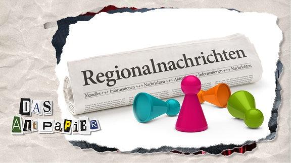 Teasergrafik Altpapier vom 29. Januar 2020: Eine zu einer Rolle zusammengelegte Regionalzeitung. Davor befinden sich vier Spielfiguren. Eine Figur steht, die anderen liegen.
