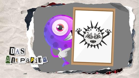 Teasergrafik Altpapier vom 30. Januar 2020: Ein kleines lila Monster hält ein Schild auf dem ein furchterregendes schwarz-weißes Monster zu sehen ist. Beide Monster stehen symbolisch - auf ihre Art - für das Coronavirus und die Berichterstattung darüber.