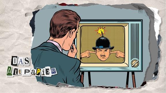 Teasergrafik Altpapier vom 31. Januar 2020: Ein Mann schaut in einen altmodischen Röhren-Fernseher. Auf dem Bildschirm ist ein anderer Mann mit Schnauzbart und Melone auf dem Kopf zu sehen, der sich die Finger in die Ohren steckt. Im Hut des Mannes steckt eine herunterbrennende Zündschnur. Das Bild ist im Modern-Art-Comicstil gehalten.