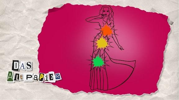 Teasergrafik Altpapier vom 3. Februar 2020: Eine Zeichnung von einer Frau im Abendkleid. Auf Höhe der Brust, des Bauchs und der Beine sind Lichtblitze in der Farbe einer Ampel, Rot, Gelb und Grün.