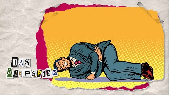 Teasergrafik Altpapier vom 4. Februar 2020: Eine Zeichnung von einem Mann im Anzug, der zusammengekrümmt am Boden auf der Seite liegt. Er hat ein schmerzverzerrtes Gesicht.