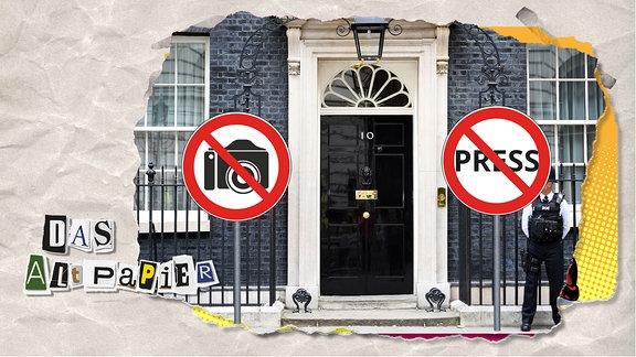 """Teasergrafik Altpapier vom 5. Februar 2020: Ein Blick von der Downing Street 10. Am Eingang steht rechts und links jeweils ein Verbotsschild: """"No Camera"""" und """"No Press""""."""