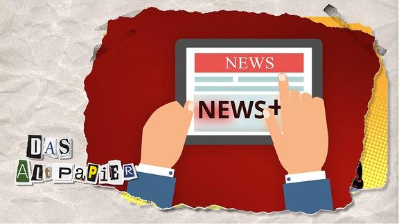 """Teasergrafik Altpapier vom 6. Februar 2020: Tablett auf dem ein Nutzer das Onlineangebot einer Zeitung liest. Ein Teil ist frei lesbar, der untere Teil wird vom Schriftzug """"News+"""" transparent verdeckt."""