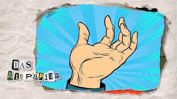 Teasergrafik Altpapier vom 13. Februar 2020: Eine Zeichnung von einer leicht geöffneten Hand, die mit dem Handteller zum Beobachter gewandt ist.