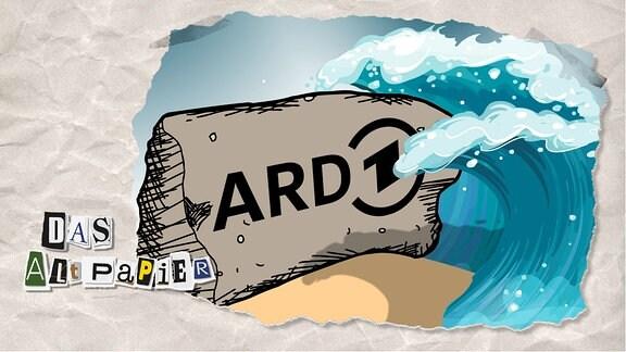 Teasergrafik Altpapier vom 17. Februar 2020: Ein Fels in der Brandung. Auf dem Fels steht ARD.