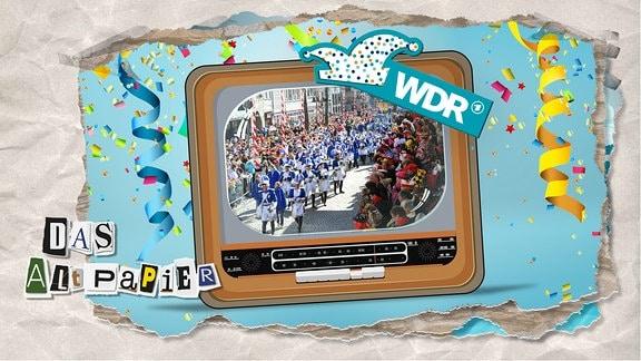 Teasergrafik Altpapier vom 19. Februar 2020: Ein altes Fernsehgerät. Zu sehen ist ein Karnevalsumzug und das Sendungslogo des WDR.