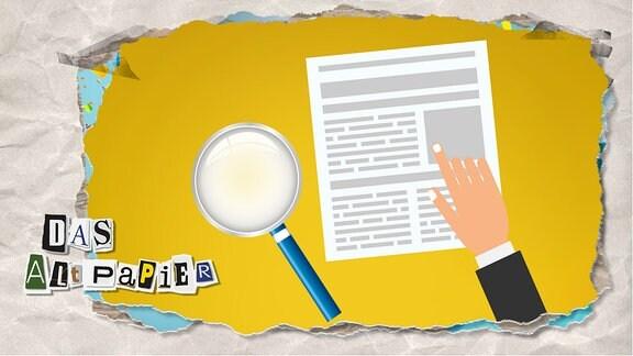 Teasergrafik Altpapier vom 20. Februar 2020: Eine Hand zeigt auf eine Meldung in einer Zeitung. Man erkennt den Inhalt der Nachrichten nicht. Neben der Zeitung liegt eine Lupe.