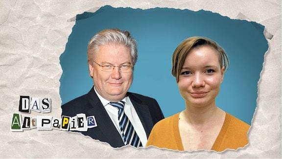 """Teasergrafik Altpapier vom 24. Februar 2020: TV-Moderator Sigmund Gottlieb und die ehem. AfD Politikerin, jetzt """"Funk-YouTuberin"""" Franziska Schreiber in einer Porträt-Collage."""