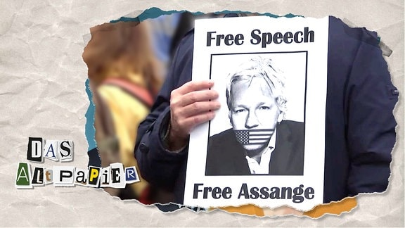 """Teasergrafik Altpapier vom 25. Februar 2020: Ein Plakat mit der Aufschrift """"Free Speech, free Assange"""" wird hochgehalten."""