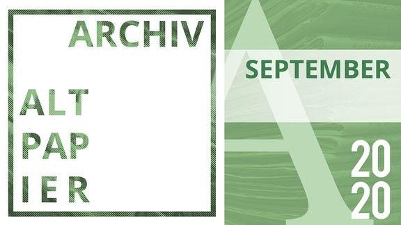 Aus Zeitungen ausgeschnittene Buchstapen bilden das Wort September