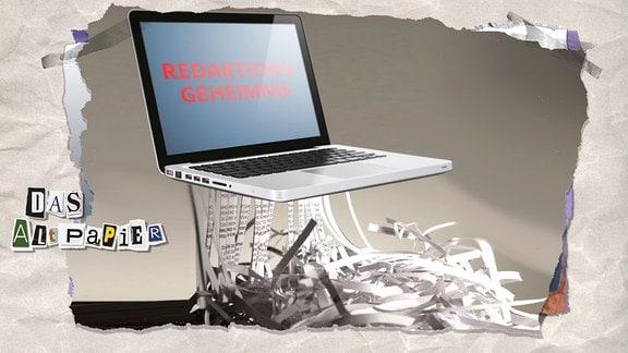 """Teasergrafik Altpapier vom 31.5.2019: Ein Laptop, auf dem """"Redaktionsgeheimnis"""" geschrieben steht, fungiert als Schredder"""