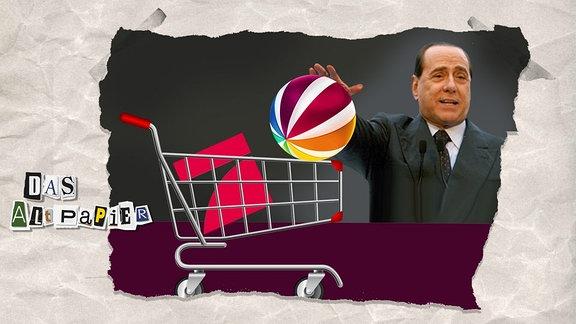 Teasergrafik Altpapier vom 01. Juni 2019: Silvio Berlusconi mit einem Einkaufswagen, in dem die Logos von Pro7 und Sat1 sind