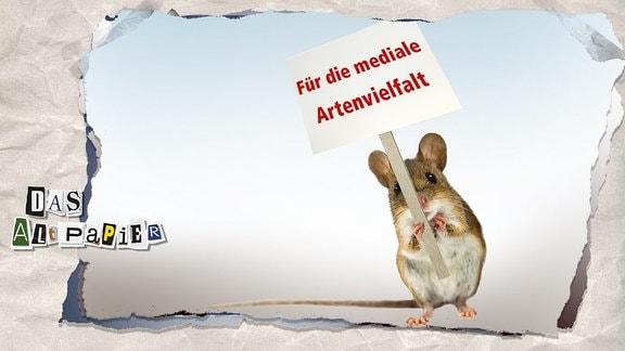 """Teasergrafik Altpapier vom 6. Juni 2019: Feldhamster mit Protestplakat """"Für die mediale Artenvielfalt"""""""
