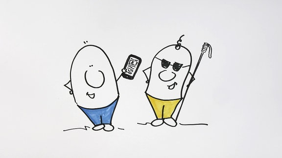 Zwei gezeichnete Personen stehen nebeneinander. Eine davon hält ein Smartphone in der linken Hand.