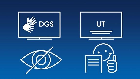Logos für Barrierefreiheit: leichte Sprache, Audiodiskription, Untertitelung, DGS