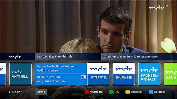 Navigationsleiste des MDR-Angebots auf einem HbbTV-Bildschirm.