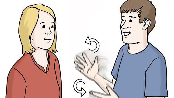 Eine Zeichnung: Zwei Menschen unterhalten sich in Gebärdensprache.