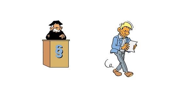 Eine Zeichnung: Ein Richter sitzt an einem Pult mit einem Paragraphen an der Front. Ein Mann geht mit einem Schriftstück von ihm weg.