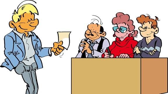 Eine Zeichnung: Ein Mann gibt seinen Wahlzettel ab.