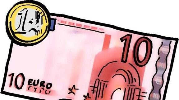 Eine Zeichnung: Ein Zehn-Euro-Schein und Geldmünzen