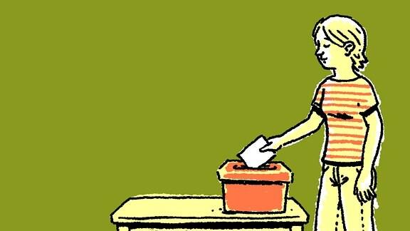 Eine Frau wirft einen Zettel in eine Wahl-Urne.