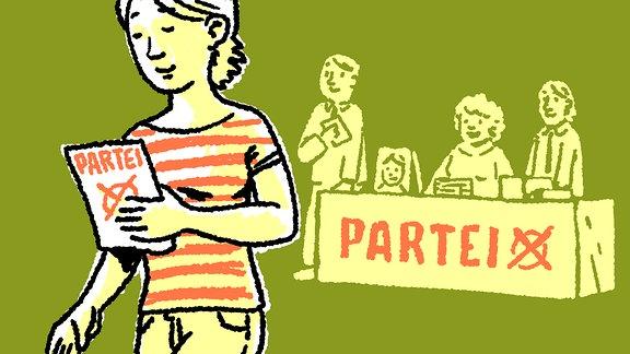 Frau mit Informationen zur Bundes-Tags-Wahl
