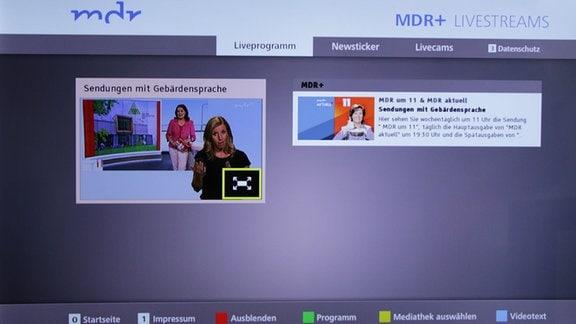 Eine Sendung mit Gebärdensprache wird auf einem HbbTV-Bildschirm abgerufen.