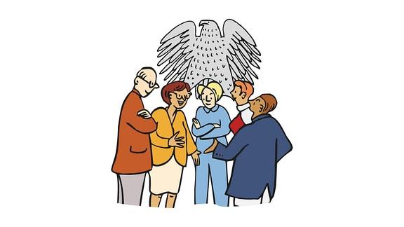 Zeichnung: Mehrere Politiker und Politikerinnen stehen zusammen