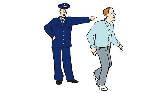 Eine Zeichnung: Eine Polizist zeigt mit der Hand auf einen Mann.