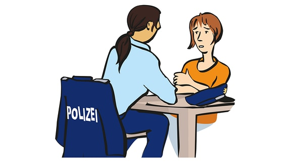 Zeichnung von einer Frau, die mit einem Polizisten spricht