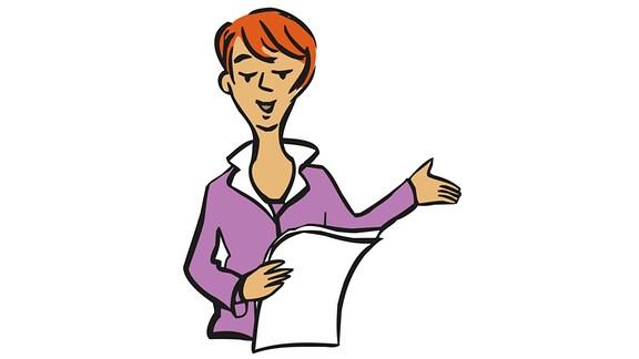 Zeichung: Eine Frau liest von einem Zettel etwas vor.