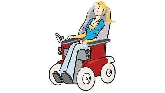 Rollstuhl-Fahrerin-Elektro
