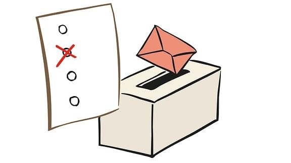 Zeichnung: Ein Wahlzettel wird in eine Wahlurne gesteckt