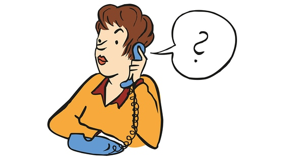 Zeichnung von einer Frau mit einem Telefonhörer in der Hand