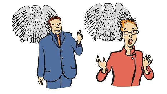 Zeichnung von einem Politiker und einer Politikerin
