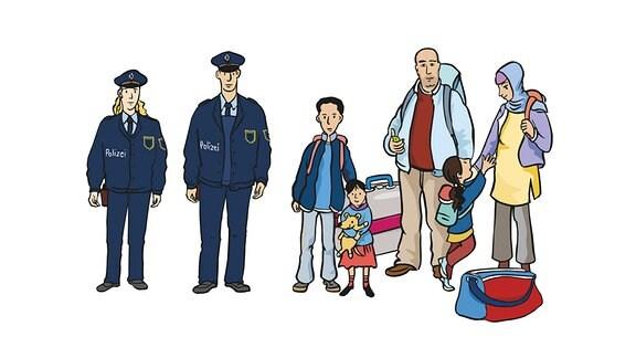Polizei und Flüchtlinge-Familie