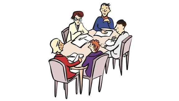 Zeichnung: Mehrere Menschen sitzen an einem Tisch