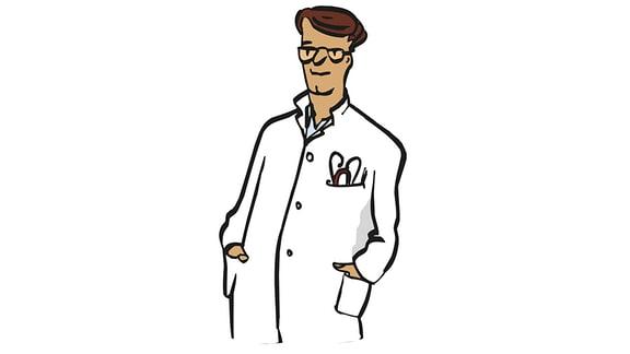 Zeichnung von einem Arzt in weißem Kittel