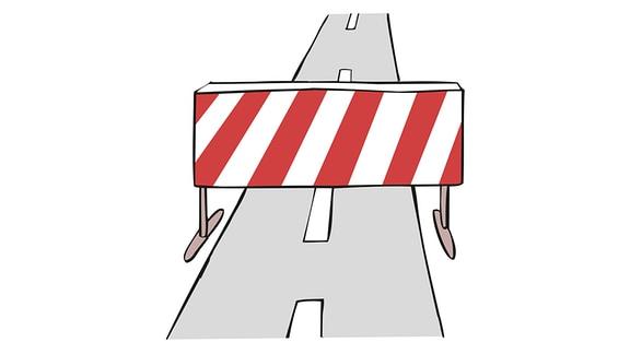 Zeichnung: Eine Barriere auf einer Straße.