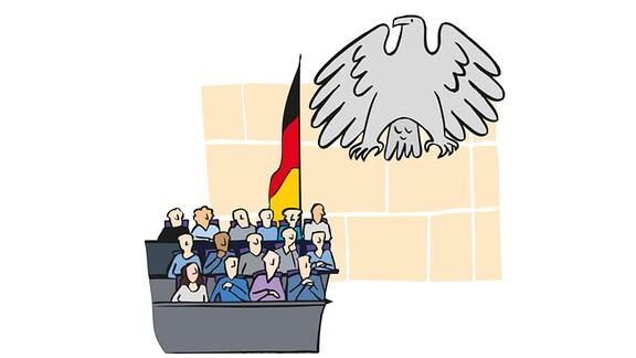Zeichung: Mehrere Politiker sitzen im Bundestag auf Bänken