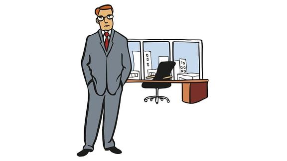 Zeichnung: Ein Mann im Anzug steht vor einem großen Schreibtisch