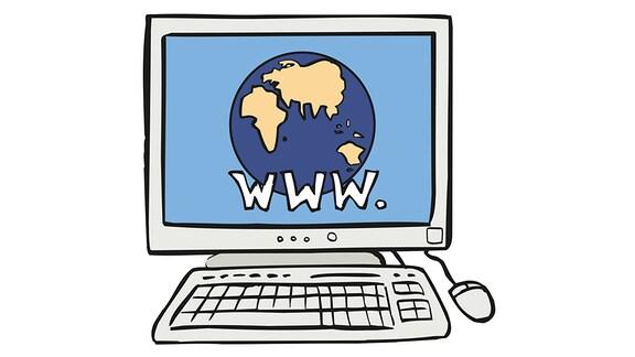 Eine Zeichnung: Auf dem Bildschirm eines Computers erscheint das Bild der Erde mit der Aufschrift www.