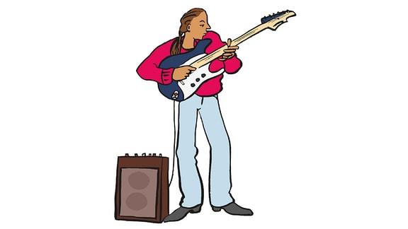 Zeichnung: Ein Mann spielt auf einer E-Gitarre