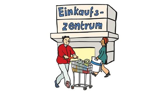 Zeichnung: 2 Menschen kommen aus einem Supermarkt